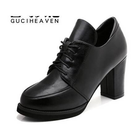 春秋新款女鞋深口单鞋粗跟高跟鞋系带女鞋通勤防水台