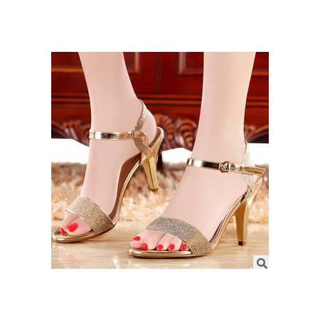 新款春夏细跟高跟鞋女式凉鞋甜美鱼嘴女鞋