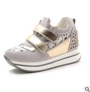 增高铆钉魔术贴女休闲鞋2015新款女鞋包邮