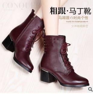 朋克铆钉粗跟系带女靴冬季新款马丁靴包邮