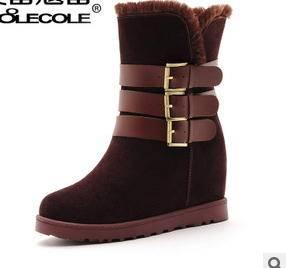 时尚英伦牛皮排扣雪地靴女 秋冬新款女靴包邮