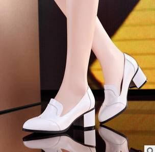 舒适尖头鞋马蹄跟女鞋2015春季单鞋