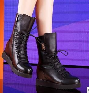 圆头增高绑带马丁靴女马丁靴冬季女靴包邮