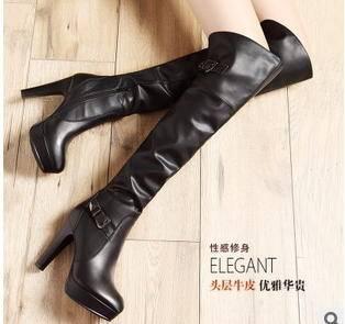 保暖细高跟长靴冬季欧美修身拉链防滑包邮