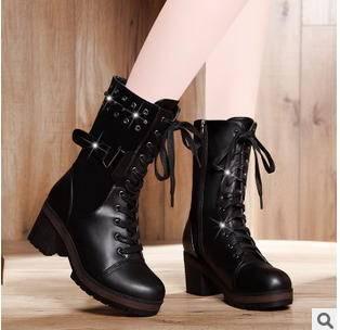 保暖加绒粗跟马丁女靴2015时尚新款靴子包邮