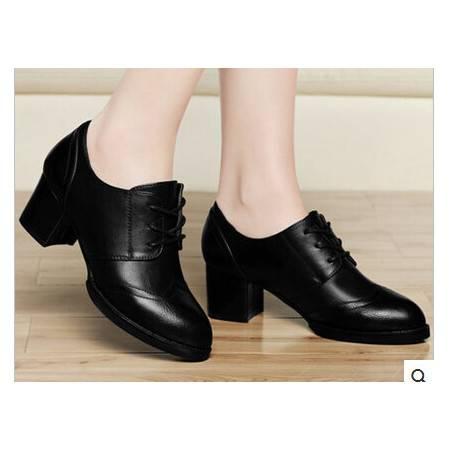 OL职业英伦女鞋春秋新款深口单鞋粗跟中跟系带通勤