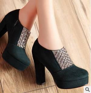 水钻纳米绒侧拉链粗高跟鞋春夏女鞋包邮