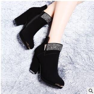 闪钻拼接磨砂绒细高跟单鞋冬季新款短靴包邮