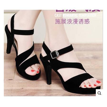 女鞋时尚一字式扣带凉鞋新款夏季高跟鞋细跟防水台
