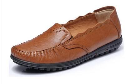 新款头层牛皮浅口单鞋真皮平底舒适妈妈鞋软底套脚女鞋子