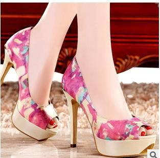 高跟细跟甜美网纱鱼嘴女鞋2015春季新款时装凉鞋子包邮