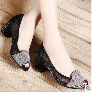 蕾丝甜美捷克水钻女式单鞋2015女鞋新款包邮