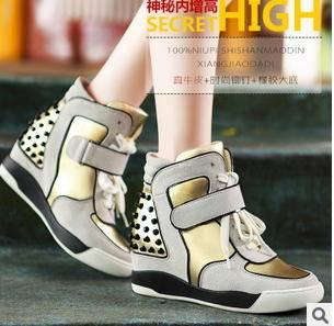 铆钉内增高真牛皮鞋板鞋子2015新款女鞋包邮
