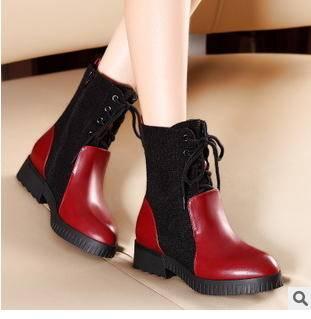 新款保暖拼接系带中跟女短靴秋冬季女鞋包邮