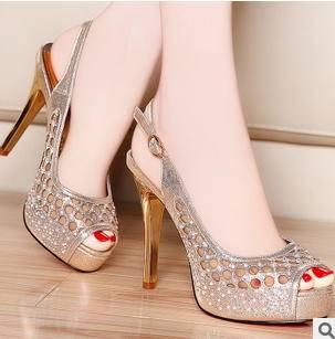 女夏防水台女鞋2015春款镂空性感网纱高跟细跟凉鞋包邮