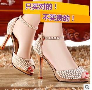 一字扣时装细高跟凉鞋 珍珠浅口女单鞋尖头时尚鱼嘴鞋包邮