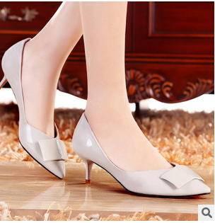 细跟蝴蝶结女鞋2015新款尖头白领单鞋包邮