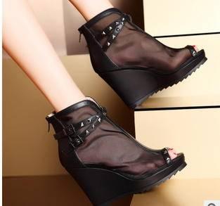 性感网纱镂空铆钉坡跟女鞋2015新款单鞋包邮