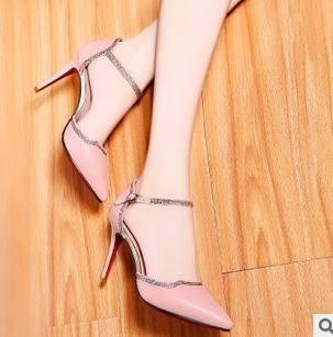水钻浅口细跟女单鞋2015春季新品尖头高跟女鞋包邮