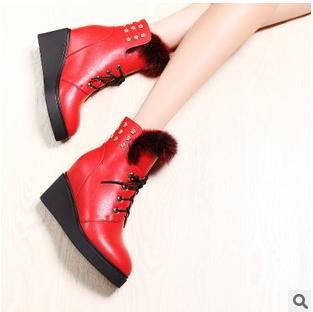 兔毛圆头坡跟内增高女靴 冬季靴子包邮