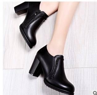 欧美圆头单鞋2015春季新款高跟粗跟女鞋包邮