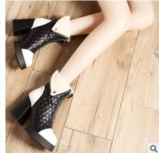 双种穿法菱格粗跟拉链女靴冬季新款短靴包邮