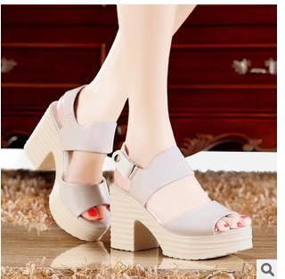 皮带扣防水台高跟鞋粗跟鱼嘴凉鞋2015夏季新款女鞋包邮