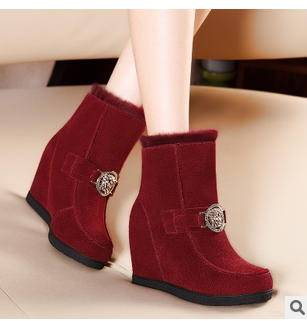 女时尚保暖反绒内增高雪地靴秋冬新款包邮