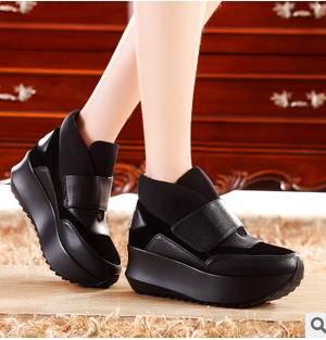 时尚圆头增高松糕跟休闲鞋冬季新款女鞋包邮