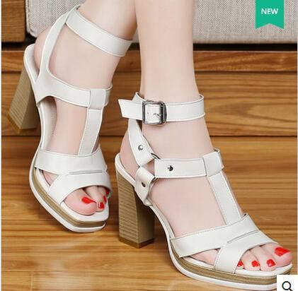 女高跟鞋皮带扣罗马白色女鞋潮 2015夏季新款欧美粗跟凉鞋