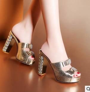 新款鱼嘴水钻高粗跟女式单鞋春夏女鞋包邮