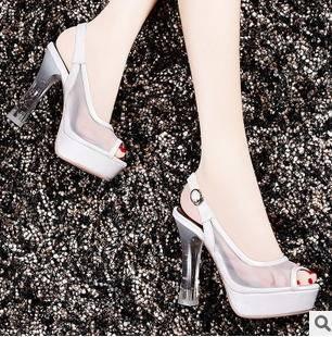 新款透气网纱水晶跟凉鞋女2015春夏女鞋包邮