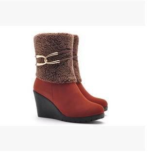 坡跟套筒增高马丁靴冬季翻毛中筒靴包邮