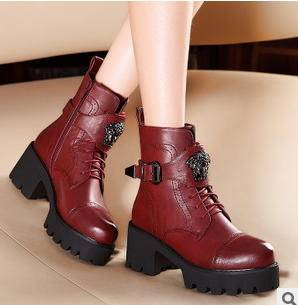 朋克金属楦型粗跟厚底中筒女靴冬季靴子包邮