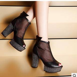 黑丝网纱鱼嘴防滑粗跟女鞋2015新款高跟鞋包邮