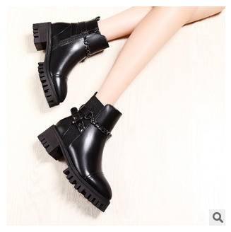 粗跟防水台短靴女骑士靴子秋冬新款女靴包邮