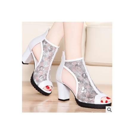 高跟粗跟性感网纱鱼嘴女鞋春季时装女凉鞋包邮
