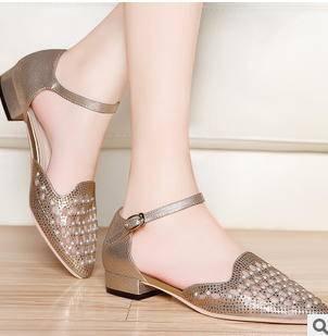 水钻凉鞋浅扣罗马女鞋2015夏季新款低跟粗跟凉鞋包邮