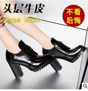 牛皮系带防滑粗跟马丁靴冬季女靴子包邮