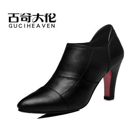 英伦深口单鞋时尚潮女鞋春秋新款尖头细跟高跟鞋