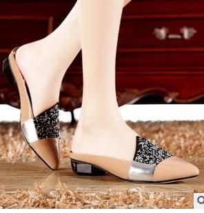 懒人低跟尖头镶钻拖鞋时尚平底公主单鞋2015夏季新款包邮