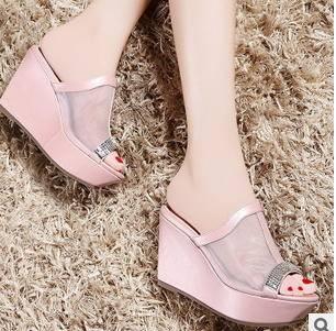 透气网纱水钻坡跟凉拖鞋子2015新款女鞋包邮