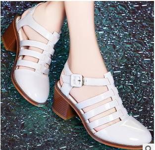 女尖头粗跟中跟凉鞋女鞋2015春夏新款罗马凉鞋包邮