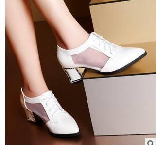 英伦中跟粗跟女鞋水钻尖头休闲单鞋2015春季新款包邮