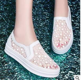 镂空厚底休闲凉鞋网状低帮鞋性感蕾丝松糕夜光女鞋包邮