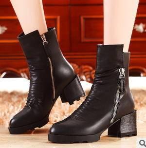 圆头方跟侧拉链马丁靴女 冬季时尚女靴包邮