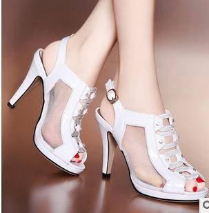 镂空网纱水钻拼接细高跟鞋2015新款女鞋包邮