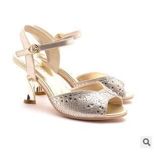 水钻高跟细跟鱼嘴女鞋2015春季新款甜美时装凉鞋子