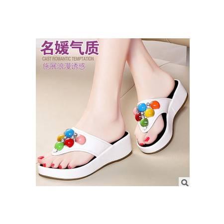 串珠平底女鞋拖鞋2015春夏时尚新款凉鞋