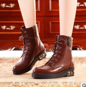 水钻平跟系带拉链马丁靴子 冬季女靴包邮
